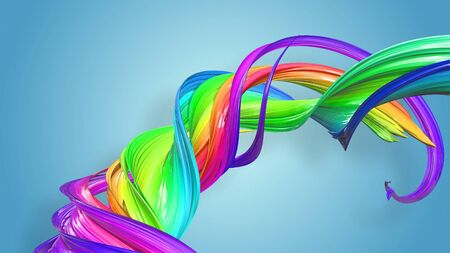 Beautiful multicolored ribbon glitters brightly. Abstract rainbow color ribbon twisted into a circular structure on a blue background. 57 Stock Photo