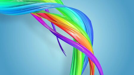 Beautiful multicolored ribbon glitters brightly. Abstract rainbow color ribbon twisted into a circular structure on a blue background. 49