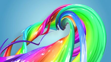 Beautiful multicolored ribbon glitters brightly. Abstract rainbow color ribbon twisted into a circular structure on a blue background. 32 Stock fotó