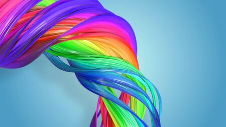 Beautiful multicolored ribbon glitters brightly. Abstract rainbow color ribbon twisted into a circular structure on a blue background. 9