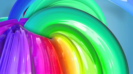 Beautiful multicolored ribbon glitters brightly. Abstract rainbow color ribbon twisted into a circular structure on a blue background. 10 Stock fotó