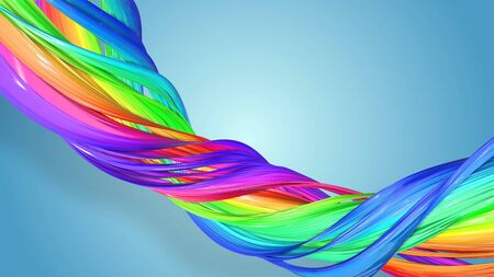 Beautiful multicolored ribbon glitters brightly. Abstract rainbow color ribbon twisted into a circular structure on a blue background. 16