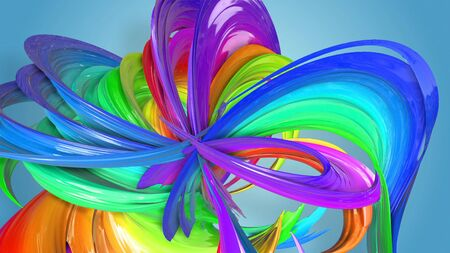 Beautiful multicolored ribbon glitters brightly. Abstract rainbow color ribbon twisted into a circular structure on a blue background. 28