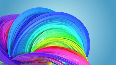 Beautiful multicolored ribbon glitters brightly. Abstract rainbow color ribbon twisted into a circular structure on a blue background. 30