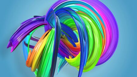 Beautiful multicolored ribbon glitters brightly. Abstract rainbow color ribbon twisted into a circular structure on a blue background. 26