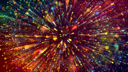 3d abstract beautiful background with colorful glowing particles, depth of field and bokeh effect. Abstract explosion of multicolored shiny particles or light rays like laser show. Stock fotó - 129221837