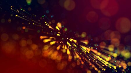 3d abstract beautiful background with colorful glowing particles, depth of field and bokeh effect. Abstract explosion of multicolored shiny particles or light rays like laser show.