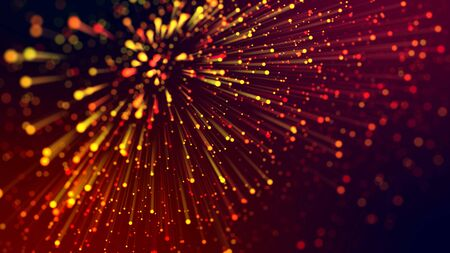 3d abstract beautiful background with colorful glowing particles, depth of field and bokeh effect. Abstract explosion of multicolored shiny particles or light rays like laser show. Stock fotó - 129222146