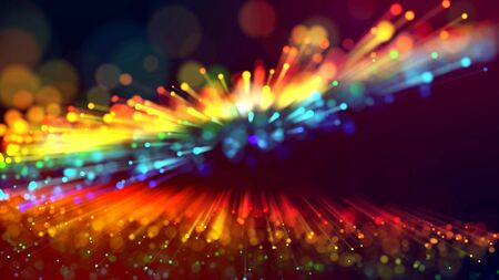 3d abstract beautiful background with colorful glowing particles, depth of field and bokeh effect. It is 3d with power abstract explosion of multicolored shiny particles or light rays like laser show.