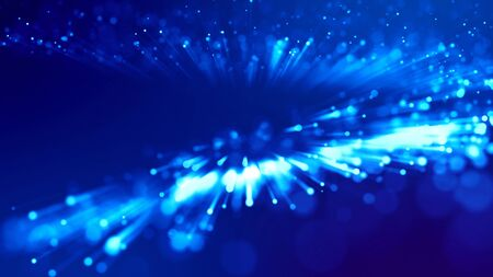 3d rendering of abstract blue background with glowing particles like micro world science fiction with depth of field and bokeh. Blue light rays like laser show for bright festive presentation