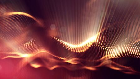 3d rendering background of glowing particles that form curved lines and 3d surfaces, grid with depth of field, bokeh. Microworld or sci-fi theme. Red gold