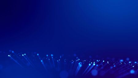 3d rendering of abstract blue background with glowing particles like micro world science fiction with depth of field and bokeh. Blue light rays like laser show for bright festive presentation.