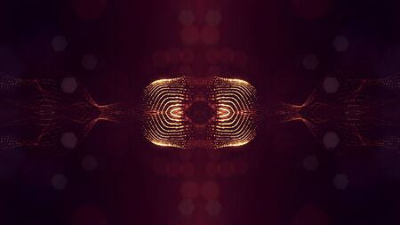 3d rendering background of glowing particles that form curved lines and 3d surfaces, grid with depth of field, bokeh. Micro world or sci-fi theme. Red gold pattern