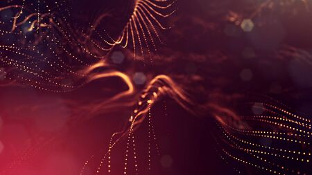 3d rendering background of glowing particles that form curved lines and 3d surfaces, grid with depth of field, bokeh. Micro world or sci-fi theme. Red gold