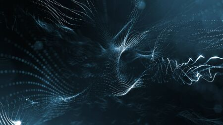 3d rendering background of glowing particles that form curved lines and 3d surfaces, grid with depth of field, bokeh. Micro world or sci-fi theme. Dark blue strings