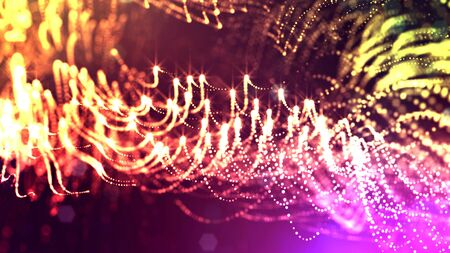 3d rendering of glow particles that fly in air as science fiction of microcosm or macro world or sci-fi. Abstract composition with depth of field and glow in dark with bokeh effects.