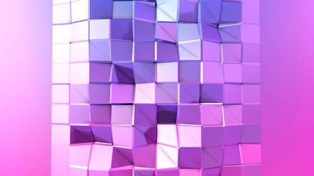 3d rendering of low poly background with 3d objects and modern gradient colors blue red violet with copy space