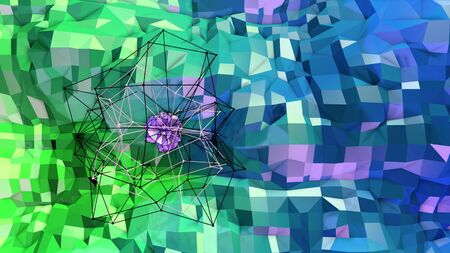 3d rendering of low poly background with 3d objects grid and modern gradient colors blue green.