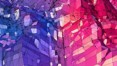 3d rendering of low poly background with 3d objects grid and modern gradient colors blue red violet.