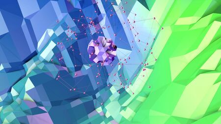 3d rendering of low poly background with 3d objects and modern gradient colors blue green.