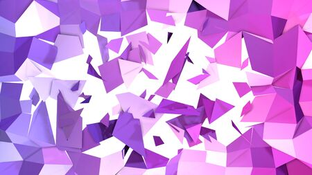 3d rendering of low poly background with 3d objects and modern gradient colors blue red violet.