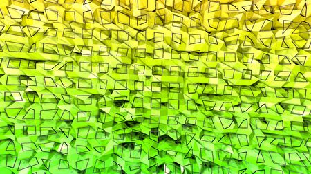 3d rendering of low poly background with 3d objects grid and modern gradient colors yellow green.