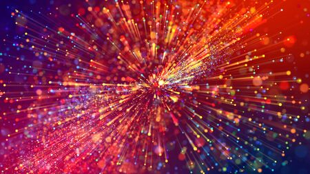 Abstract explosion of multicolored shiny particles or light rays like laser show. 3d render abstract background with colorful glowing particles, depth of field and bokeh effect.