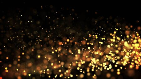 composition of gold particles with a depth of field 3d render 免版税图像