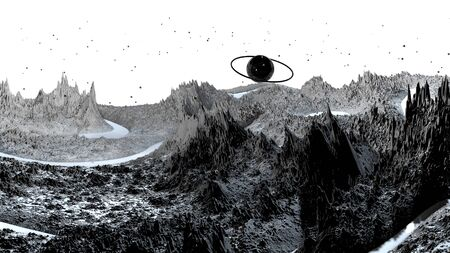 3d render of abstract planet surface. Very detailed sci fi or science fiction background in greyscale like moon landscape with 3d objects. Ð¡osmic surface of the planet 101