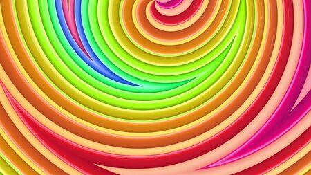 Fondo de colores de arco iris brillante transparente 3d abstracto en 4k. Las rayas de degradado multicolores se mueven cíclicamente en un estilo creativo de dibujos animados simple. Animación suave en bucle. Foto de archivo