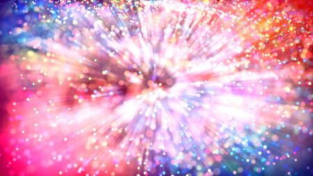 Abstract explosion of multicolored shiny particles or light rays like laser show. 3d render abstract beautiful background with light rays colorful glowing particles, depth of field, bokeh.