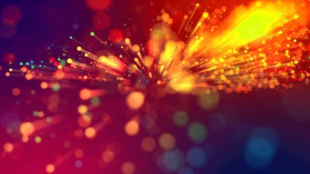Abstract explosion of multicolored shiny particles or light rays like laser show. 3d render abstract beautiful background with light rays colorful glowing particles, depth of field, bokeh. 免版税图像