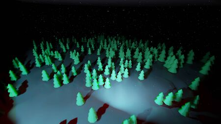 winter night, coniferous forest with backlight in cartoon style, blank for a festive Christmas background with forest, snowdrifts, starry sky. Top of view. 3d render Imagens