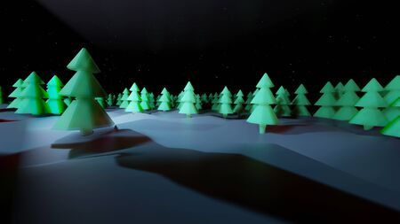 winter night, coniferous forest with backlight in cartoon style, blank for a festive Christmas background with forest, snowdrifts, starry sky. 3d render Imagens