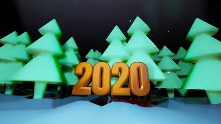 winter night, coniferous forest with backlight and golden inscription 2020 in cartoon style, blank for a festive Christmas background with forest, snowdrifts, starry sky. 3d render Imagens