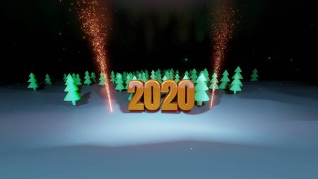 winter night, coniferous forest with backlight and golden inscription 2020 with fireworks in cartoon style, blank for a festive Christmas background with forest, snowdrifts, starry sky. 3d render Imagens