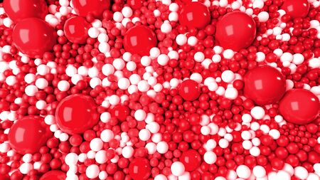 beautiful shiny red white balls of different colors and sizes completely cover the surface. Some spheres glow. 3d photorealistic render geometric reative holiday background of shiny balls Stock fotó