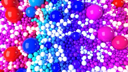 beautiful shiny balls of different colors and sizes completely cover the surface. Some spheres glow. 3d photorealistic render geometric reative holiday background of shiny balls. Multicolored