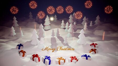 Christmas card or blank for Christmas composition with a snowy Christmas tree forest, winter night with moon light, christmas gifts and golden festive inscription with fireworks. 3d render