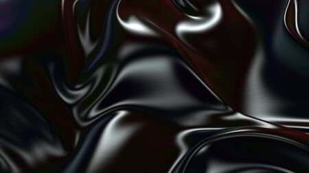 3D render beautiful folds of black silk in full screen, like a beautiful clean fabric background with copy space. Simple soft background with smooth folds like waves on a liquid surface. Cloth with be