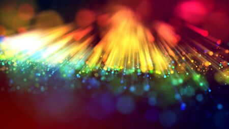 3d abstract beautiful background with light rays colorful glowing particles, depth of field, bokeh. Abstract explosion of multicolored shiny particles or light rays like laser show.