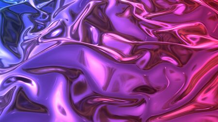 3D render beautiful folds of foil with gradient iridescent blue red colores in full screen, like a beautiful clean fabric background with copy space. Simple soft background with smooth folds like wave