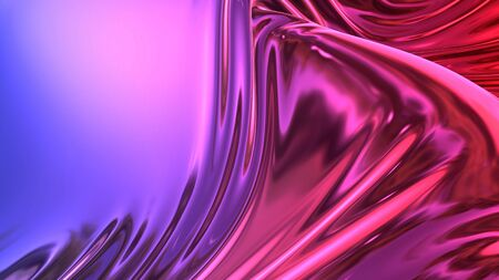 3D render beautiful folds of foil with gradient iridescent blue red color in full screen, as clean fabric abstract background. Simple soft material with crease like waves on liquid surface. 110