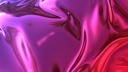 3D render beautiful folds of foil with gradient iridescent blue red color in full screen, as clean fabric abstract background. Simple soft material with crease like waves on liquid surface. 52