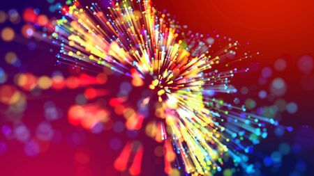 Abstract explosion of multicolored shiny particles like sparkles with light rays like laser show. 3d abstract background with light rays colorful glowing particles, depth of field, bokeh. Imagens