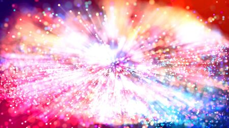 Abstract explosion of multicolored shiny particles like sparkles with light rays like laser show. 3d abstract background with light rays colorful glowing particles, depth of field, bokeh. Bright festive background or science fiction setting 版權商用圖片