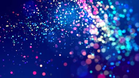 cloud of multicolored particles fly in air slowly or float in liquid like sparkles on dark blue background. Beautiful bokeh light effects with glowing particles. 26 版權商用圖片