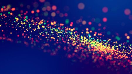 cloud of multicolored particles fly in air slowly or float in liquid like sparkles on dark blue background. Beautiful bokeh light effects with glowing particles. 34