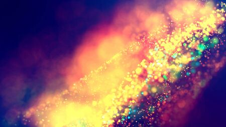 cloud of multicolored particles fly in air slowly or float in liquid like sparkles on dark blue background. Beautiful bokeh light effects with glowing particles. 35