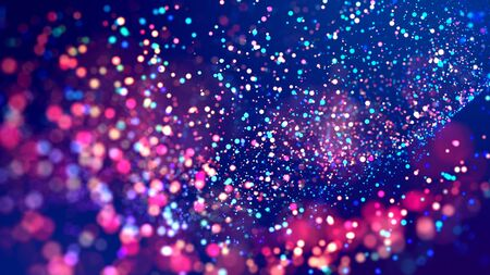 cloud of multicolored particles fly in air slowly or float in liquid like sparkles on dark blue background. Beautiful bokeh light effects with glowing particles. 38
